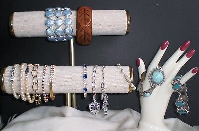 14 Bracelets Rhinestone Faux Pearl Lucite etc Silver/ Gold Tone Mostly Vintage