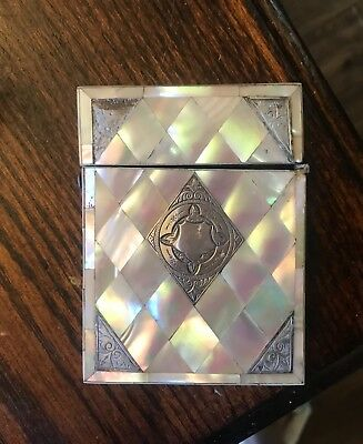 Antique French Victorian Mother Of Pearl and Sterling Silver Calling Card Case