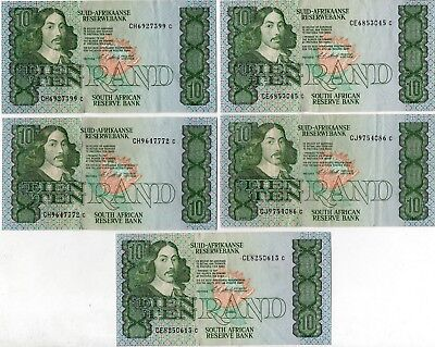 South Africa 10 Rand Banknotes Lot of 5