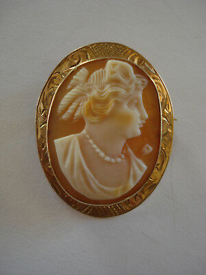"""Neat 1.25"""" Antique Carved Shell Cameo 10KT Gold Brooch Pendant, Goddess Psyche"""