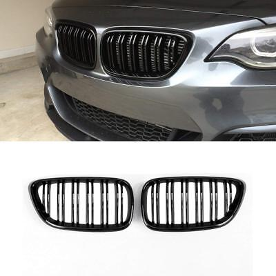 BMW F22 F23 gloss shiney black front kidney grilles grille twin double spoke