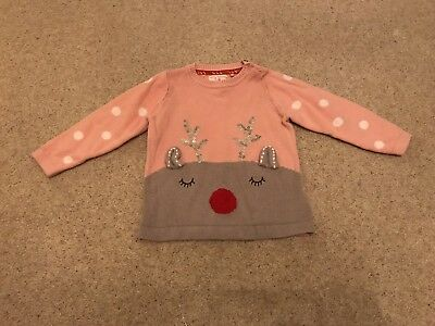 Mothercare Baby Girls Pink Christmas Jumper Size 9-12 Months