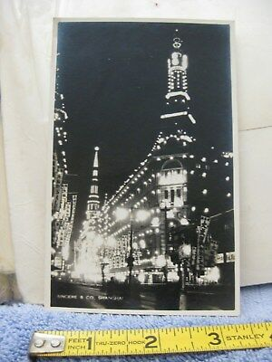 Shanghai China RPPC Real Photo Postcard Sincere & Co. night time shot