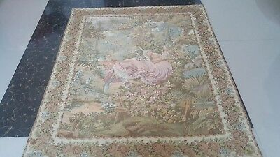 "Antique 19c Aubusson French Tapestry Beautiful Color View size 40""x46 cm102x117"