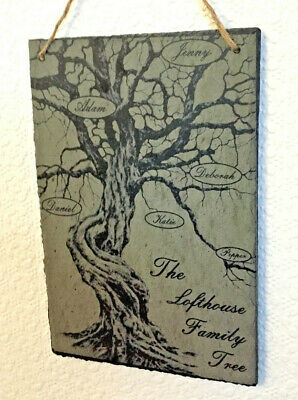 Personalised engraved slate for Family Tree.Customised text with family name. UK