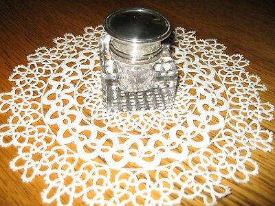 Antique Inkwell with Sterling Silver Cover