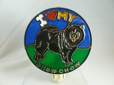 "Stained Glass Style  ""black Chow  ""  Night Light"