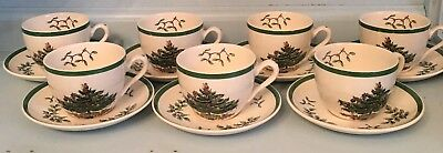7 SPODE Christmas Tree Tea Coffee CUP & SAUCERS Made In England S3324