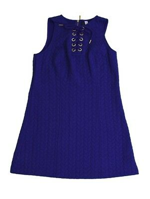 Kensie Womens M Quilted Cocktail Dress Tunic Lace Up Purple Light