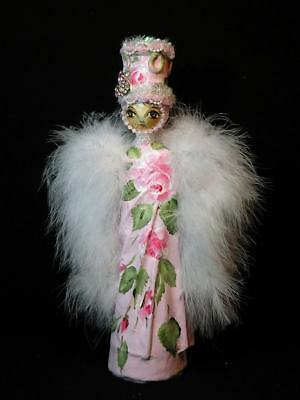 Shabby Chic Pink Rose Altered Vintage Mexican Folk Art Paper Mache Angel
