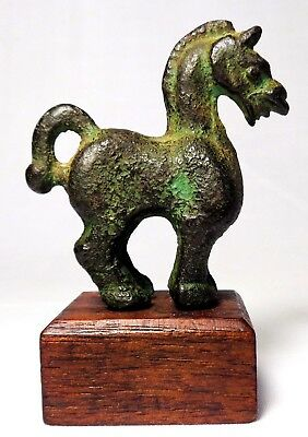 Mid-Late 19Th C Chinese Antique Bronze Battle Horse Fig Mounted On Walnut Base