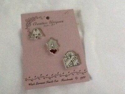 Ceramic 1988 Vintage Creative Uniques Set Of Three Handmade Buttons On Card