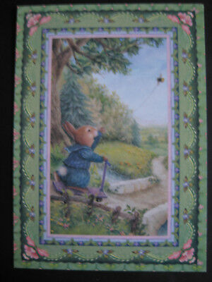 UNUSED vintage greeting card Holly Pond Hill Boy Bunny w/ Bumblebee Kite blank