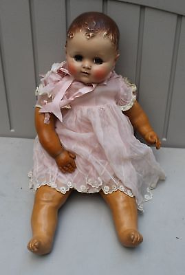 """Vintage Arranbee Baby Doll 21"""" Rubber Body Nice Face Clothes Molded Hair"""