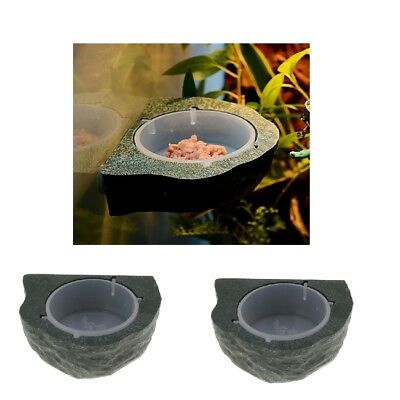 2x Reptile Feeder Food Holder Cup Gecko Natural Look Ledge -Magnetic Decor