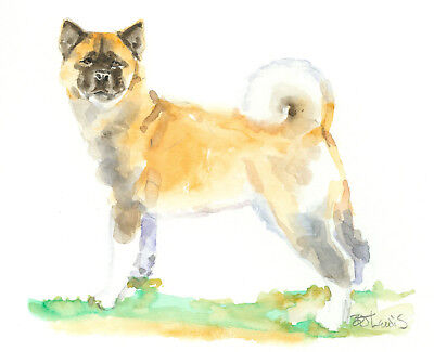 Original Watercolor Akita Double Matted 8x10 Ready to Frame