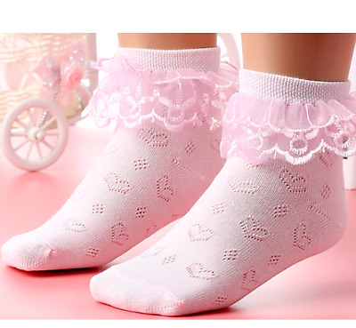 2 Pair Girls Lacy Socks Toddler Frilly Hearts Ankle Fancy 1 White 1 Pink Age 2-4