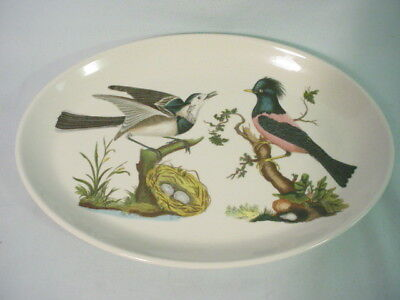 """Portmeirion Birds of Britain Oval Steak Plate Wagtail Rose Starling 10 1/2"""""""