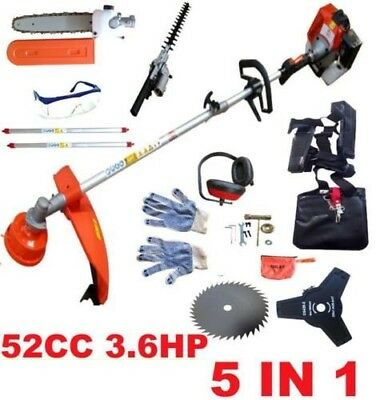 5 in 1 Petrol Strimmer Hedge Trimmer Multi Tool Brush Cutter Chainsaw Garden