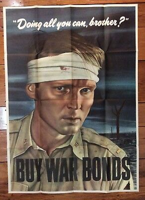 1943 WORLD WAR II Propaganda Poster - DOING ALL YOU CAN, BROTHER? Buy War Bonds