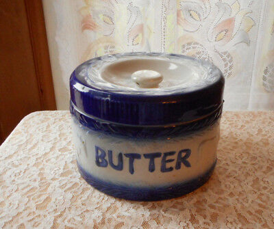 Antique Butter Crock Stoneware ? Blue And White With Cows And Bail Handle