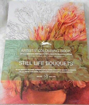 Pepin Still Life Bouquets - Artists Colouring Book 180 gsm Acid Free