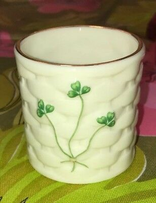 "2.25"" Lefton basketweave shamrock votive candle Gold Edge Marked 1999 EUC"