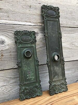 Lot of 2 Matching Vintage Brass Stamped Door Faceplates ~ Vintage Door Hardware