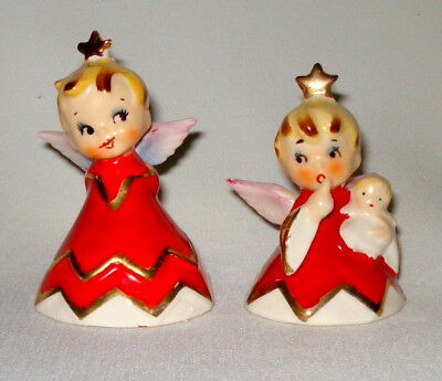 2 sweet vintage lefton christmas angel figurines bells ornaments japan 1956 - Christmas Angel Figurines