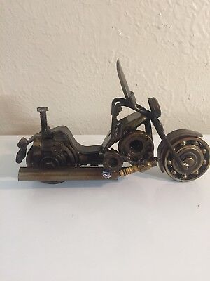Handmade Hand-Welded Scrap Metal Art Motorcycle Model Sculpture