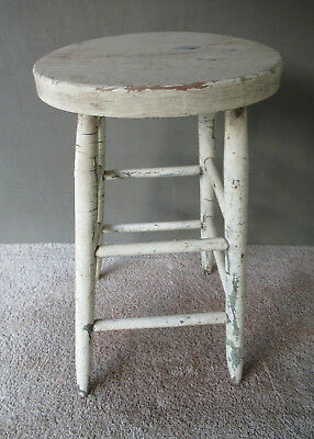 "Antique Stool Primitive Vintage Wood 24"" Tall White/Green Paint, 4-Leg Stand"
