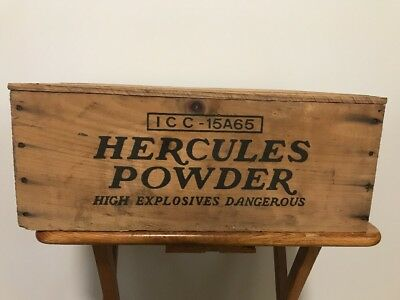 Vintage Hercules Powder High Explosives Dangerous Wood Crate