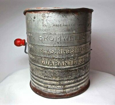 Antique BROMWELL 5 Cups Flour Sifter Wire Crank WOOD Red Knob USA