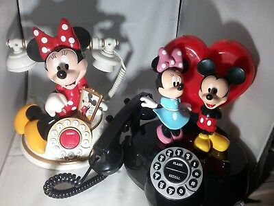 Disney Animated Telephone Minnie Mouse Desk And Mickey And Minnie Talking Teleph