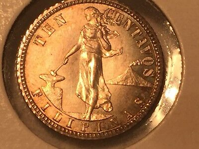 Philippines 1908 Proof Ten Centavos Nice Proof Total Mintage 500