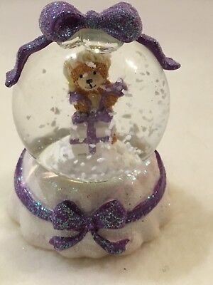 Christmas XMAS - Little Lost Bear small snow globe with purple bow