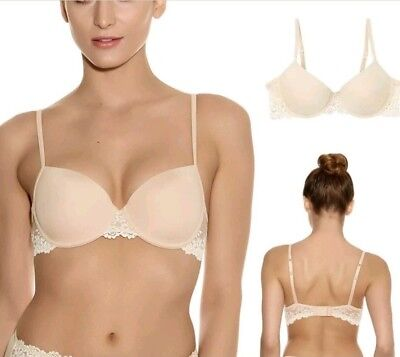 bdc3ad1e74e7b Wacoal Embrace Lace Petite 36A Underwired Padded Push Up Plunge Bra Beige