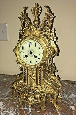 Large French Bronze Antique Mantel Clock 1880 Japy Freres