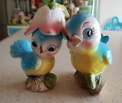 Vintage Japan Bluebird Slat Pepper Shakers Lefton Enesco