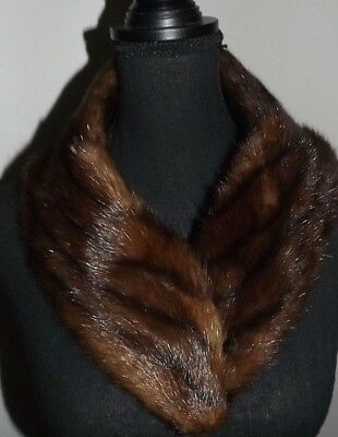Brown Mink  Fur Lining  Wrap  Stole Collar.