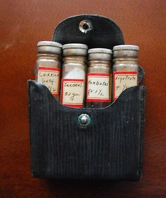 Antique Pharmacy Medicine Leather Medical Pouch With Four Vials