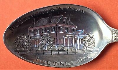 Rare Vincennes Indiana The Old Harrison Home Sterling Silver Souvenir Spoon