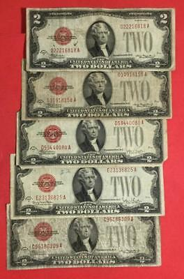 1928D-1928G $2 RED US Deuces Legal Tenders SEt of 5 X818 Rough! Old Currency