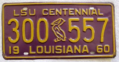 "1960 Louisiana ""LSU Centennial"" License Plate #300 557"