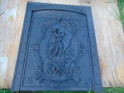 Antique 1880's Cast Iron fireplace Cover & Surround NUDE DIANA GODDESS DEER