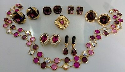 Vtg Lot Of Signed Swarovski Pink Purple Crystal Clip On Earrings Necklace Pin