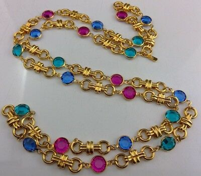 Vtg Signed Swarovski Fushia Teal Blue Crystal Bezel Set Necklace Gorgeous!!!