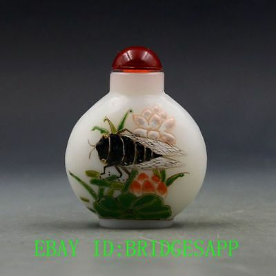 Antique Chinese Glass Hand-painted Lotus & Cicadas Snuff Bottles  B65