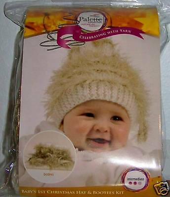 Baby White & Gold Hat & Booties Knitting Kit, 4 balls of yarn - NEW