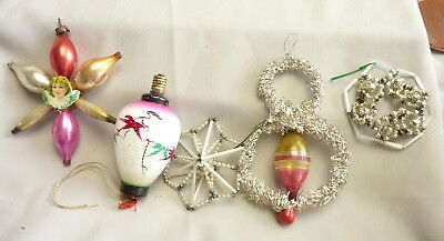 Lot of 5 Antique Glass Christmas Ornaments Bead Tinsel Bulb
